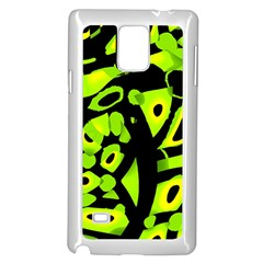 Green Neon Abstraction Samsung Galaxy Note 4 Case (white) by Valentinaart
