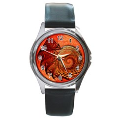 Nautilus Shell Abstract Fractal Round Metal Watch by designworld65