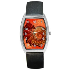 Nautilus Shell Abstract Fractal Barrel Style Metal Watch by designworld65