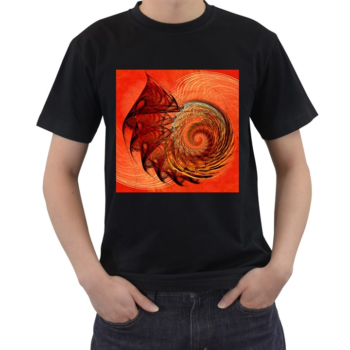Nautilus Shell Abstract Fractal Men s T-Shirt (Black) (Two Sided)