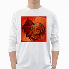 Nautilus Shell Abstract Fractal White Long Sleeve T Shirts by designworld65