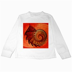 Nautilus Shell Abstract Fractal Kids Long Sleeve T Shirts by designworld65