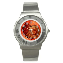 Nautilus Shell Abstract Fractal Stainless Steel Watch by designworld65