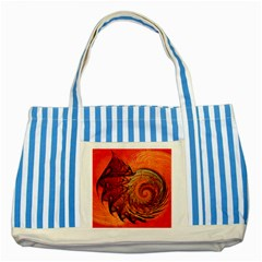 Nautilus Shell Abstract Fractal Striped Blue Tote Bag by designworld65
