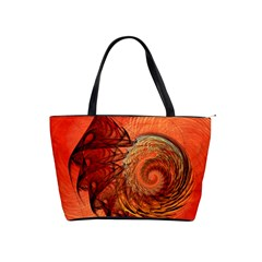Nautilus Shell Abstract Fractal Shoulder Handbags by designworld65