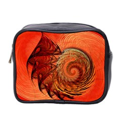 Nautilus Shell Abstract Fractal Mini Toiletries Bag 2 Side by designworld65
