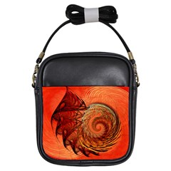 Nautilus Shell Abstract Fractal Girls Sling Bags by designworld65