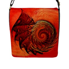 Nautilus Shell Abstract Fractal Flap Messenger Bag (l)  by designworld65