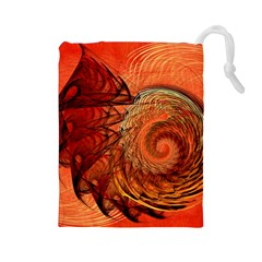 Nautilus Shell Abstract Fractal Drawstring Pouches (large)  by designworld65