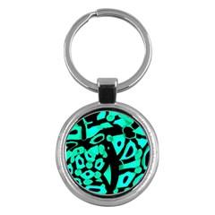 Cyan Design Key Chains (round)  by Valentinaart