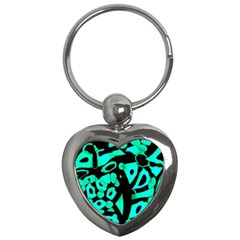 Cyan Design Key Chains (heart)  by Valentinaart