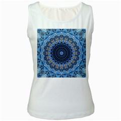 Feel Blue Mandala Women s White Tank Top by designworld65