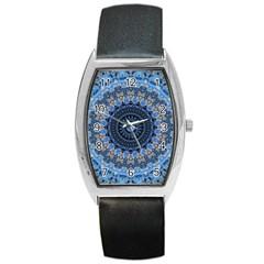 Feel Blue Mandala Barrel Style Metal Watch by designworld65