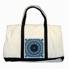 Feel Blue Mandala Two Tone Tote Bag by designworld65
