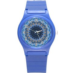 Feel Blue Mandala Round Plastic Sport Watch (s) by designworld65