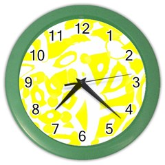 Yellow Sunny Design Color Wall Clocks by Valentinaart