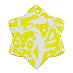Yellow Sunny Design Snowflake Ornament (2 Side) by Valentinaart