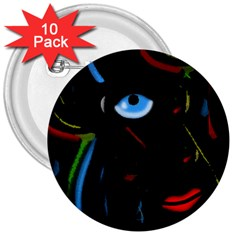 Black Magic Woman 3  Buttons (10 Pack)  by Valentinaart
