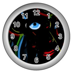 Black Magic Woman Wall Clocks (silver)  by Valentinaart