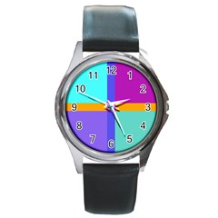 Right Angle Squares Stripes Cross Colored Round Metal Watch by EDDArt