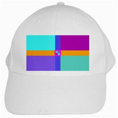 Right Angle Squares Stripes Cross Colored White Cap by EDDArt