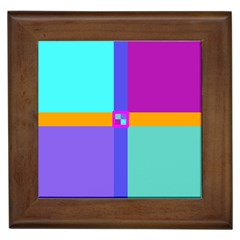 Right Angle Squares Stripes Cross Colored Framed Tiles by EDDArt