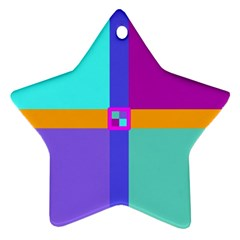 Right Angle Squares Stripes Cross Colored Ornament (star)  by EDDArt