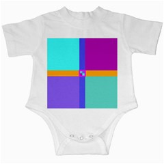 Right Angle Squares Stripes Cross Colored Infant Creepers by EDDArt