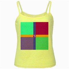 Right Angle Squares Stripes Cross Colored Yellow Spaghetti Tank by EDDArt