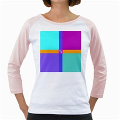 Right Angle Squares Stripes Cross Colored Girly Raglans by EDDArt
