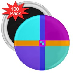 Right Angle Squares Stripes Cross Colored 3  Magnets (100 Pack) by EDDArt