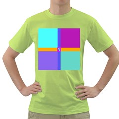 Right Angle Squares Stripes Cross Colored Green T Shirt by EDDArt