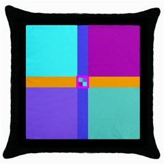 Right Angle Squares Stripes Cross Colored Throw Pillow Case (black) by EDDArt