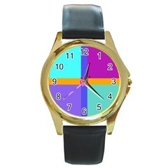 Right Angle Squares Stripes Cross Colored Round Gold Metal Watch by EDDArt