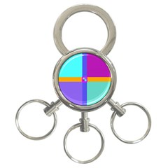 Right Angle Squares Stripes Cross Colored 3 Ring Key Chains