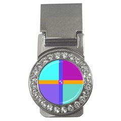 Right Angle Squares Stripes Cross Colored Money Clips (cz)