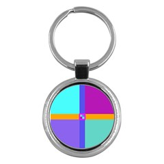Right Angle Squares Stripes Cross Colored Key Chains (round)  by EDDArt
