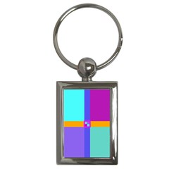 Right Angle Squares Stripes Cross Colored Key Chains (rectangle)