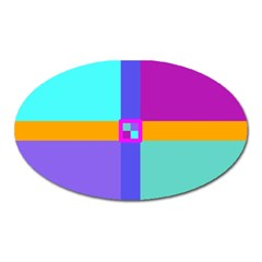 Right Angle Squares Stripes Cross Colored Oval Magnet by EDDArt