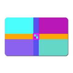 Right Angle Squares Stripes Cross Colored Magnet (rectangular) by EDDArt