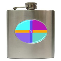 Right Angle Squares Stripes Cross Colored Hip Flask (6 Oz) by EDDArt