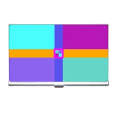 Right Angle Squares Stripes Cross Colored Business Card Holders by EDDArt