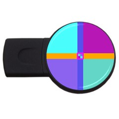 Right Angle Squares Stripes Cross Colored Usb Flash Drive Round (2 Gb)  by EDDArt