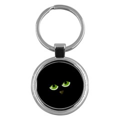 Halloween   Back Cat Key Chains (round)  by Valentinaart