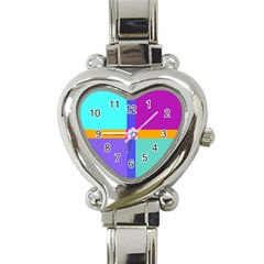 Right Angle Squares Stripes Cross Colored Heart Italian Charm Watch