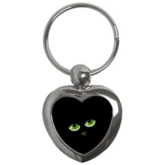 Halloween   Back Cat Key Chains (heart)  by Valentinaart