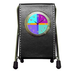 Right Angle Squares Stripes Cross Colored Pen Holder Desk Clocks by EDDArt