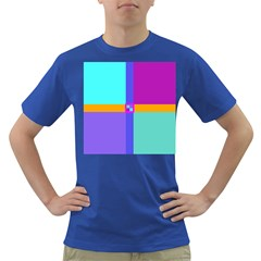 Right Angle Squares Stripes Cross Colored Dark T Shirt by EDDArt
