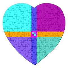 Right Angle Squares Stripes Cross Colored Jigsaw Puzzle (heart)