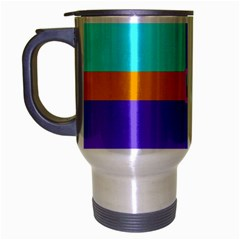Right Angle Squares Stripes Cross Colored Travel Mug (silver Gray) by EDDArt